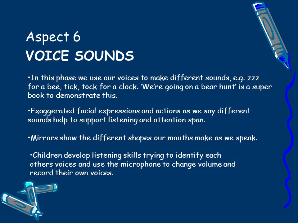 Aspect 6 VOICE SOUNDS Children develop listening skills trying to identify each others voices and use the microphone to change volume and record their own voices.