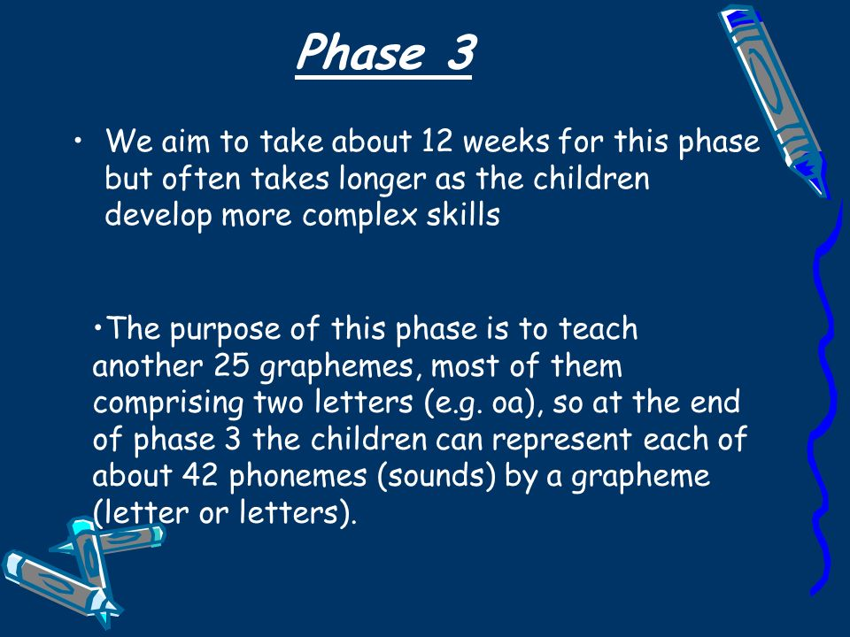 Phase 3 We aim to take about 12 weeks for this phase but often takes longer as the children develop more complex skills The purpose of this phase is to teach another 25 graphemes, most of them comprising two letters (e.g.