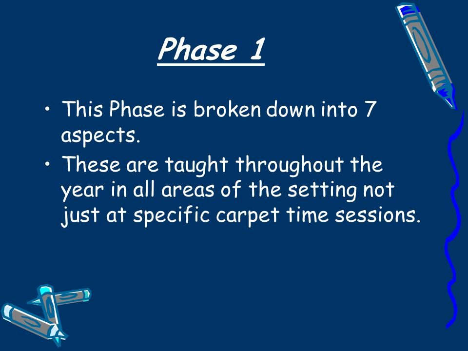 Phase 1 This Phase is broken down into 7 aspects.