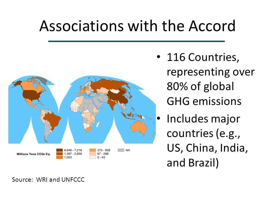 Associations with the Accord 116 Countries, representing over 80% of global GHG emissions Includes major countries (e.g., US, China, India, and Brazil) Source: WRI and UNFCCC