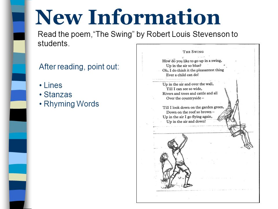 What Is Poetry The Swing By Robert Louis Stevenson Anne