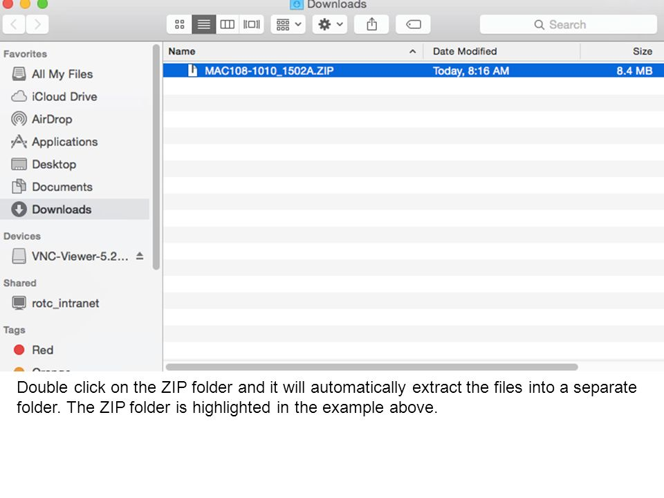 Double click on the ZIP folder and it will automatically extract the files into a separate folder.