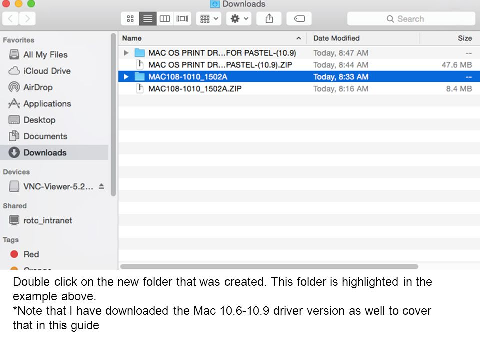 Double click on the new folder that was created. This folder is highlighted in the example above.