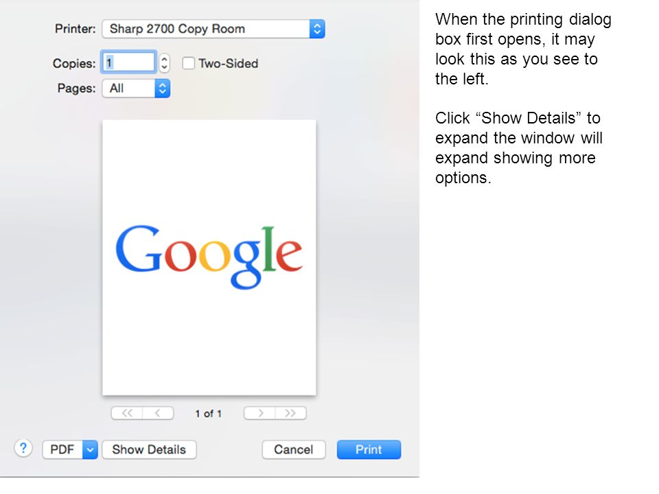 When the printing dialog box first opens, it may look this as you see to the left.