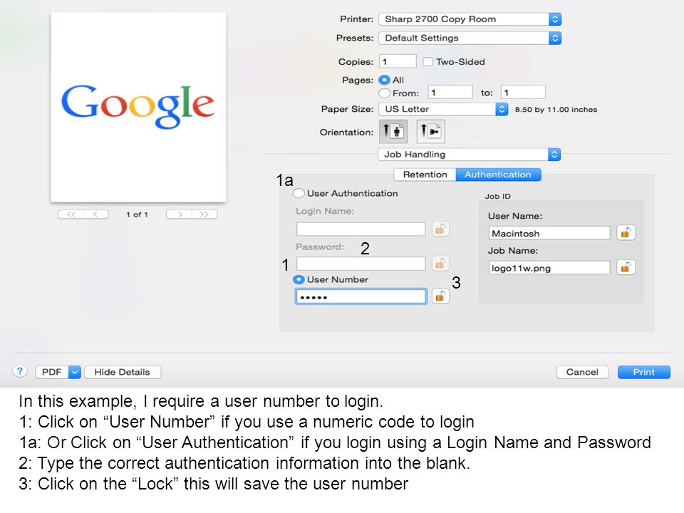 In this example, I require a user number to login.