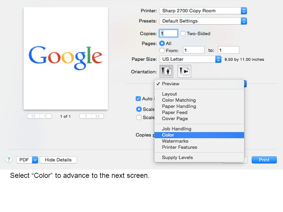 Select Color to advance to the next screen.