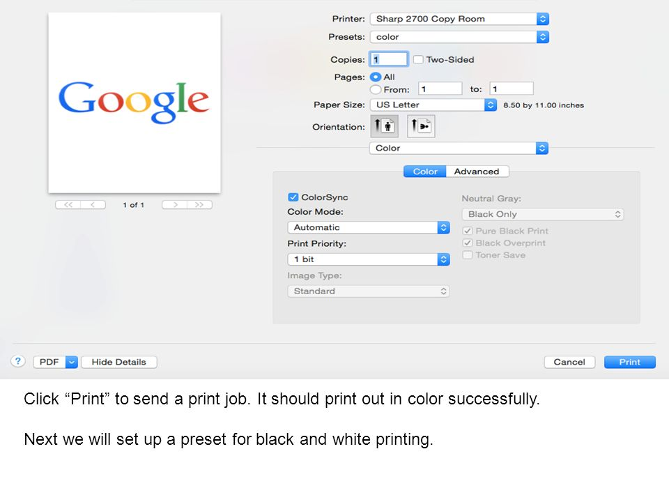 Click Print to send a print job. It should print out in color successfully.