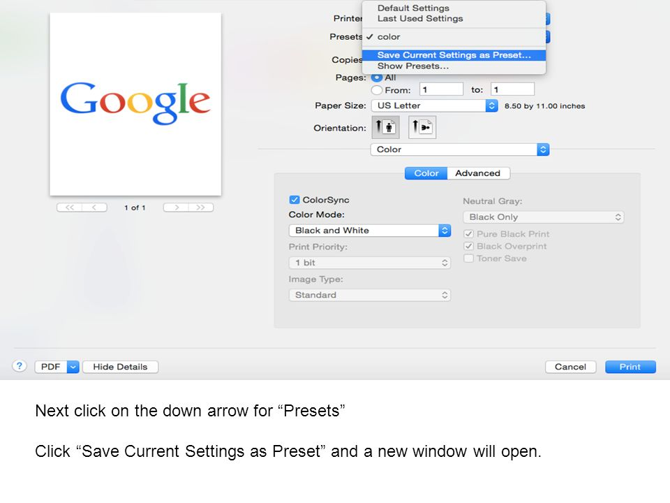 Next click on the down arrow for Presets Click Save Current Settings as Preset and a new window will open.