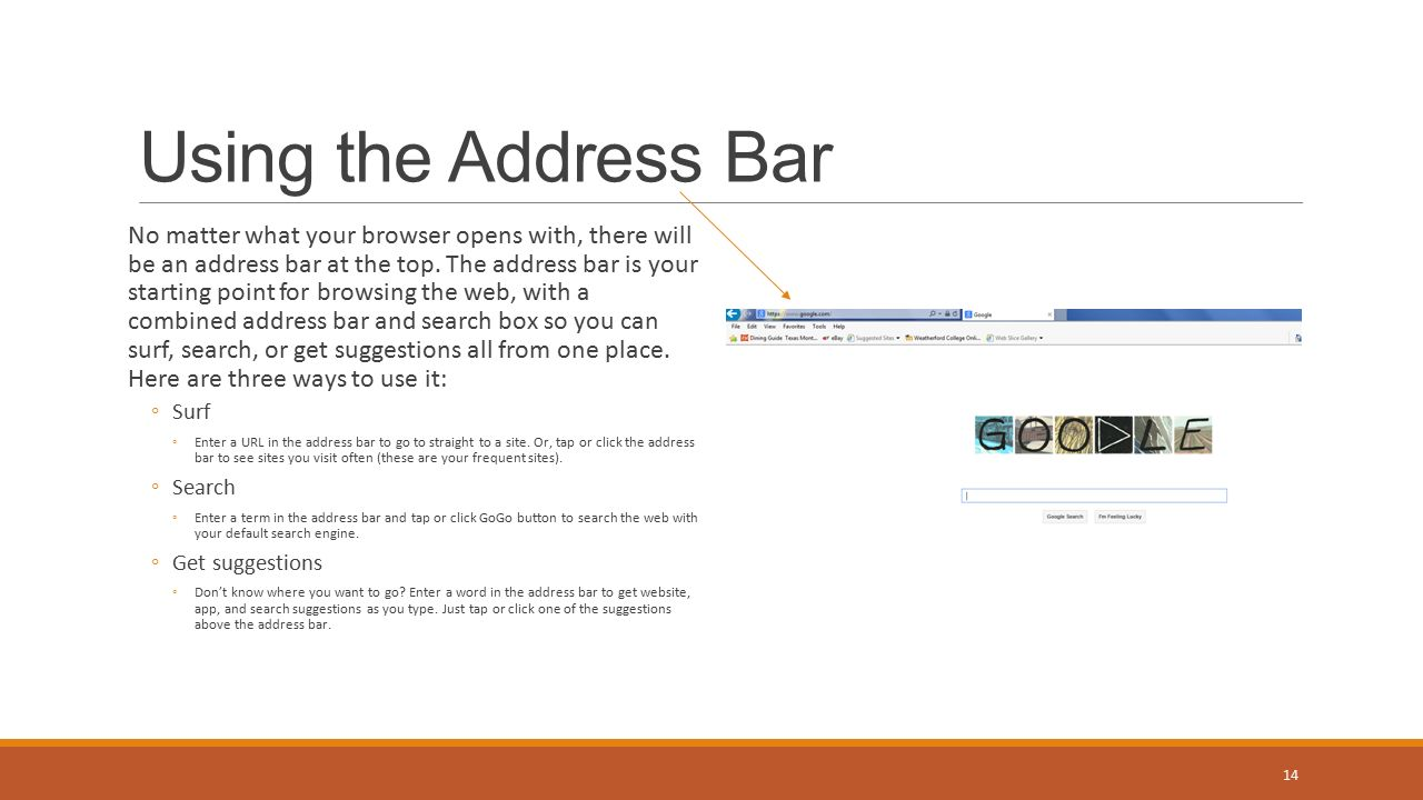 Using the Address Bar No matter what your browser opens with, there will be an address bar at the top.