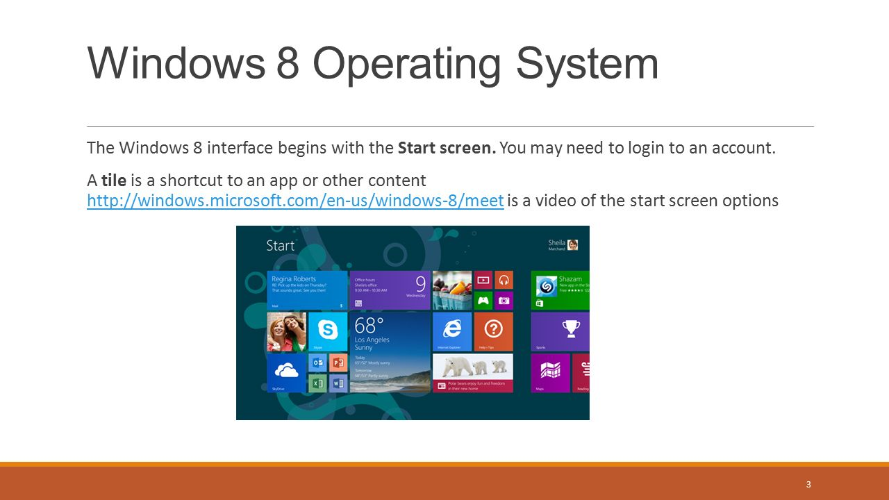 The Windows 8 interface begins with the Start screen.