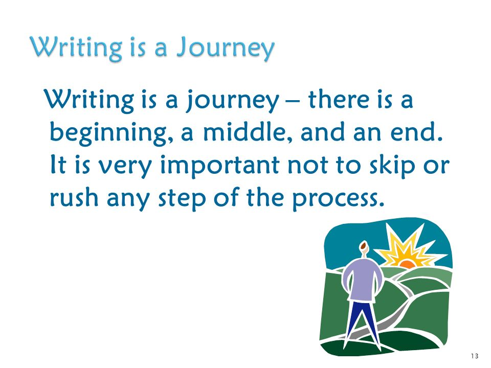 Writing is a journey – there is a beginning, a middle, and an end.