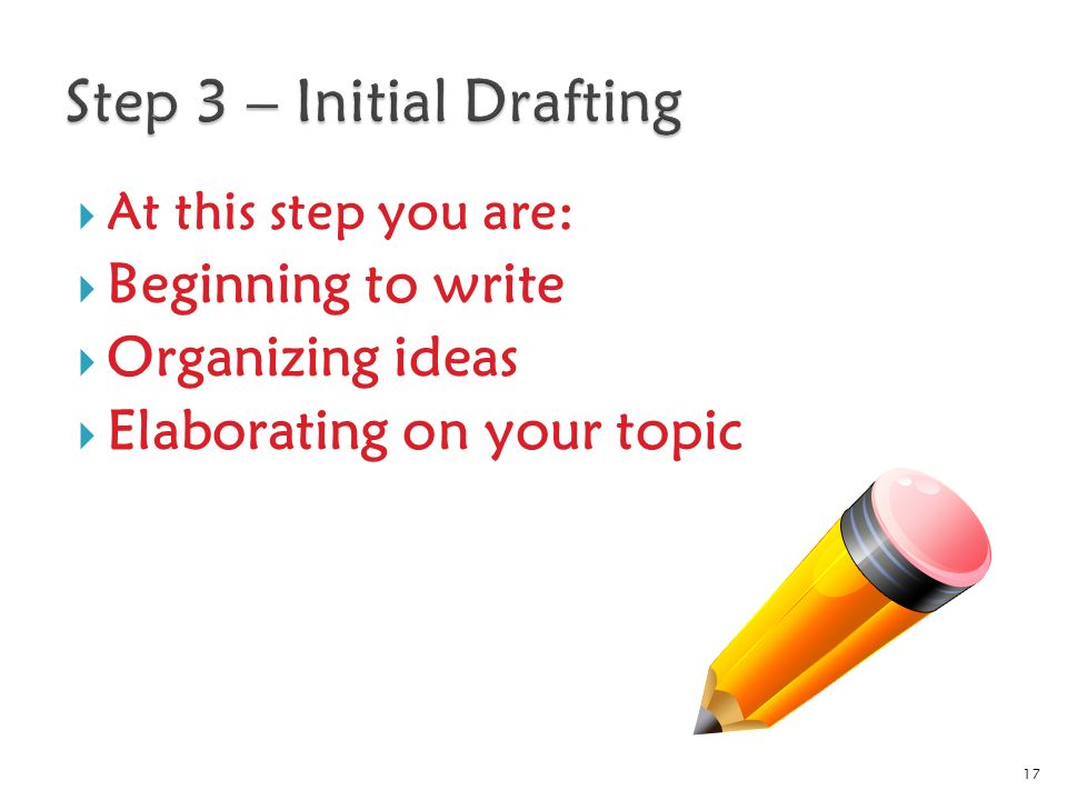  At this step you are:  Beginning to write  Organizing ideas  Elaborating on your topic 17