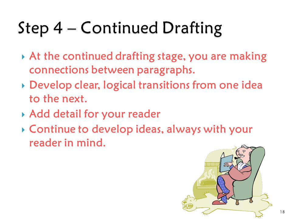  At the continued drafting stage, you are making connections between paragraphs.