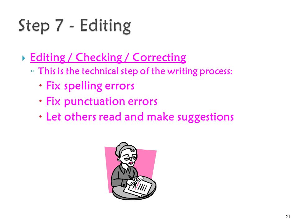  Editing / Checking / Correcting ◦ This is the technical step of the writing process:  Fix spelling errors  Fix punctuation errors  Let others read and make suggestions 21