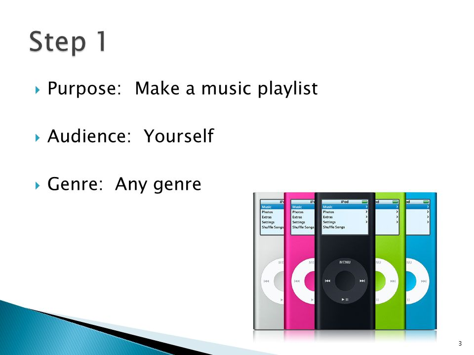  Purpose: Make a music playlist  Audience: Yourself  Genre: Any genre 3