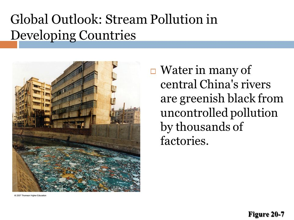 Global Outlook: Stream Pollution in Developing Countries  Water in many of central China s rivers are greenish black from uncontrolled pollution by thousands of factories.