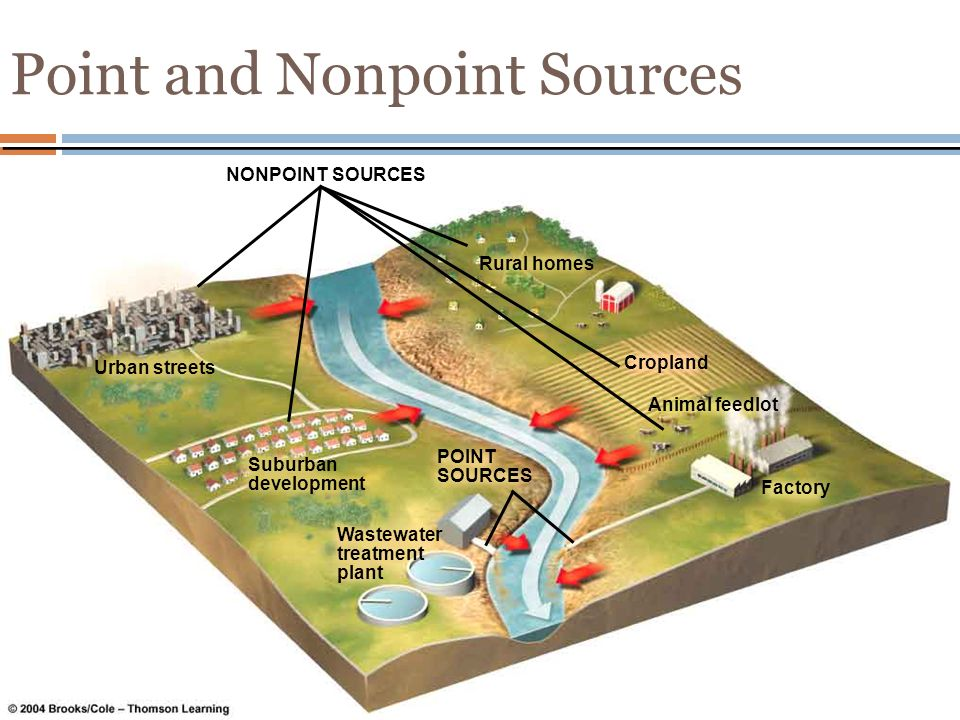 Point and Nonpoint Sources NONPOINT SOURCES Urban streets Suburban development Wastewater treatment plant Rural homes Cropland Factory Animal feedlot POINT SOURCES