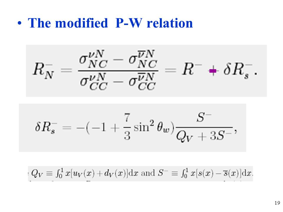 19 The modified P-W relation -
