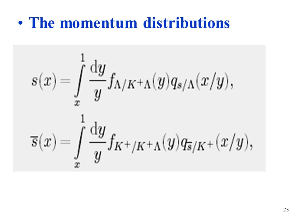 23 The momentum distributions
