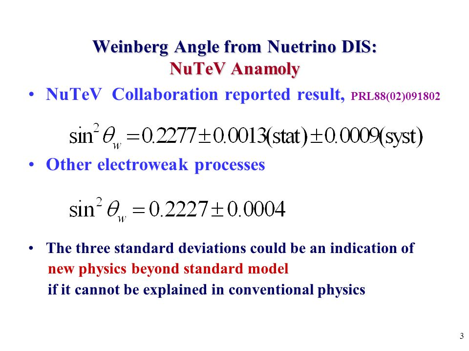 3 Weinberg Angle from Nuetrino DIS: NuTeV Anamoly NuTeV Collaboration reported result, PRL88(02) Other electroweak processes The three standard deviations could be an indication of new physics beyond standard model if it cannot be explained in conventional physics