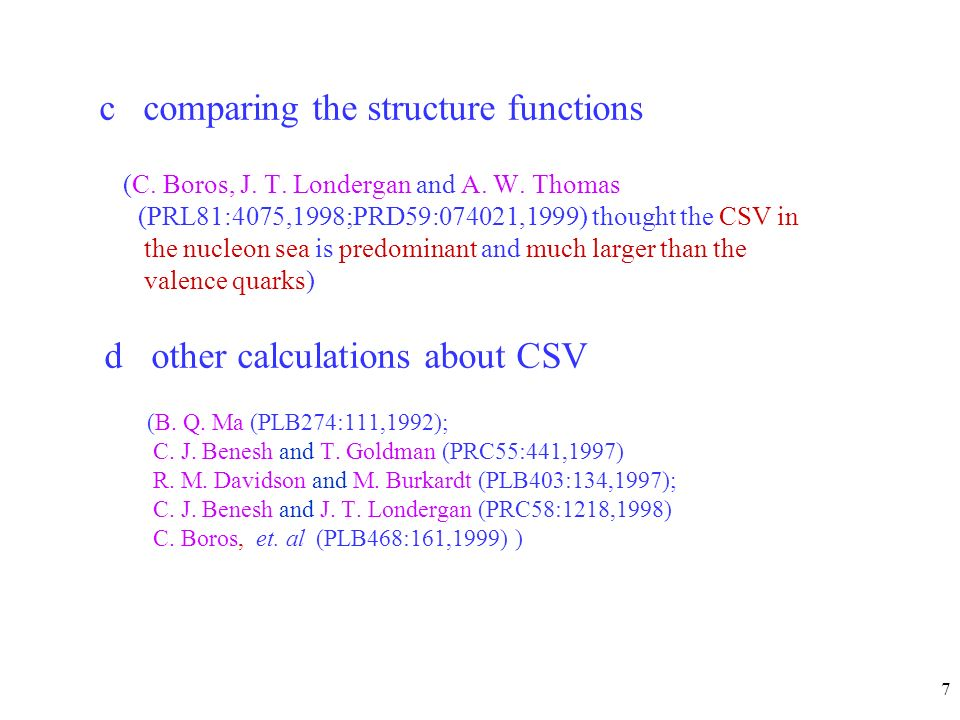 7 c comparing the structure functions (C. Boros, J.