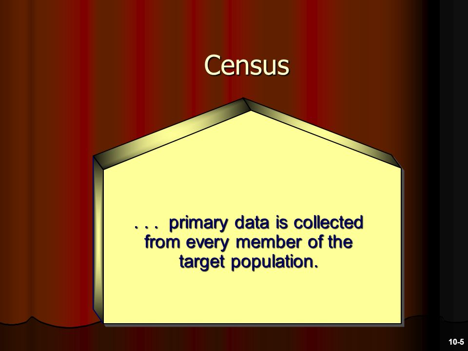 Census... primary data is collected from every member of the target population. 10-5