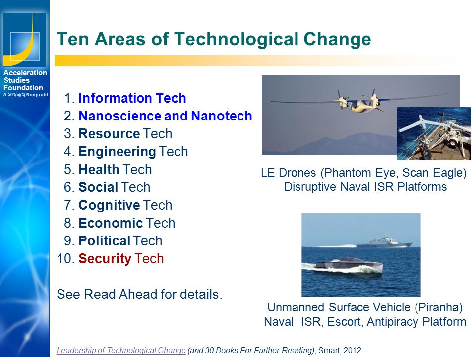 Los Angeles New York Palo Alto Acceleration Studies Foundation A 501 (c)(3) Nonprofit Ten Areas of Technological Change 1.