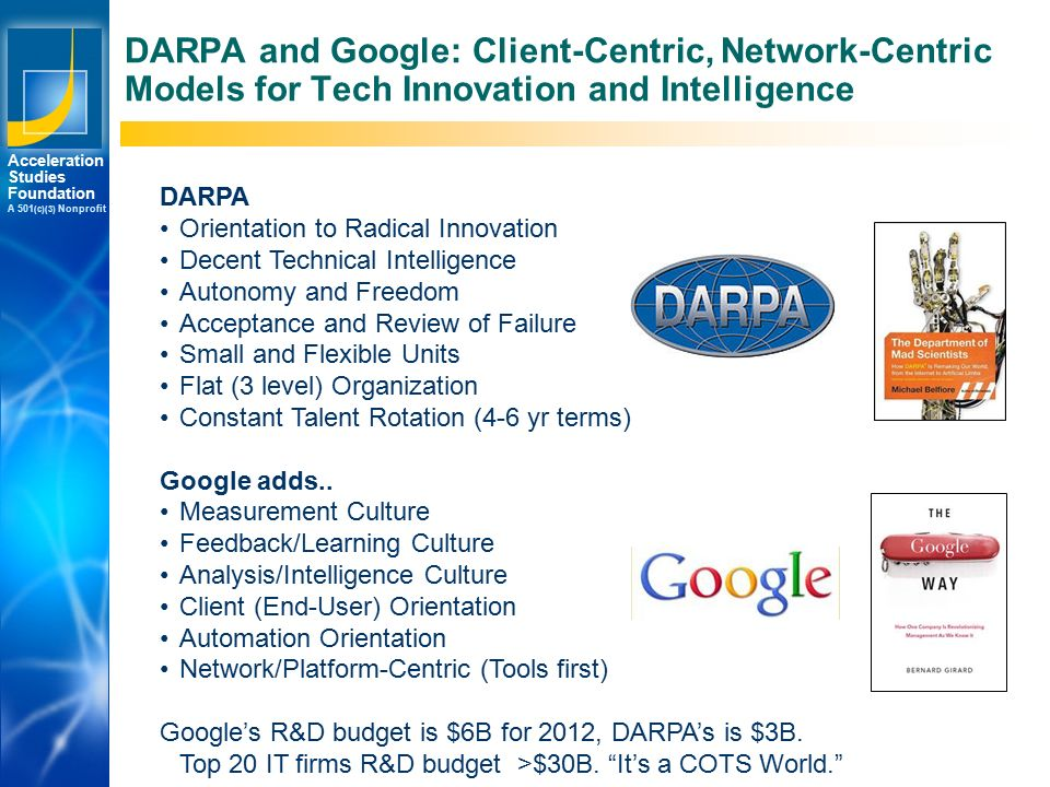 Los Angeles New York Palo Alto Acceleration Studies Foundation A 501 (c)(3) Nonprofit DARPA and Google: Client-Centric, Network-Centric Models for Tech Innovation and Intelligence DARPA Orientation to Radical Innovation Decent Technical Intelligence Autonomy and Freedom Acceptance and Review of Failure Small and Flexible Units Flat (3 level) Organization Constant Talent Rotation (4-6 yr terms) Google adds..