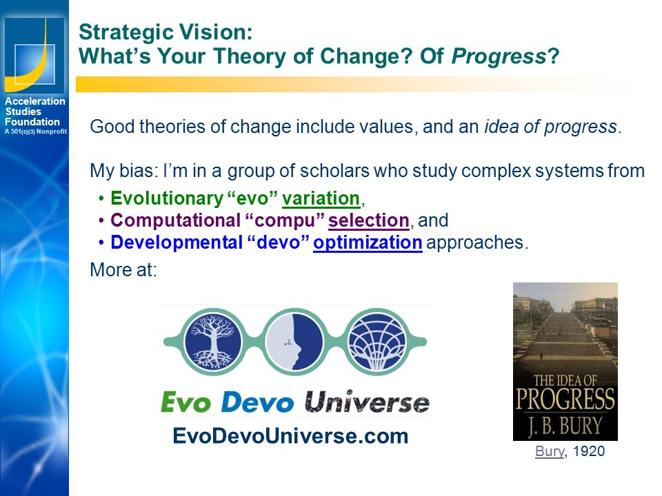 Los Angeles New York Palo Alto Acceleration Studies Foundation A 501 (c)(3) Nonprofit Strategic Vision: What's Your Theory of Change.