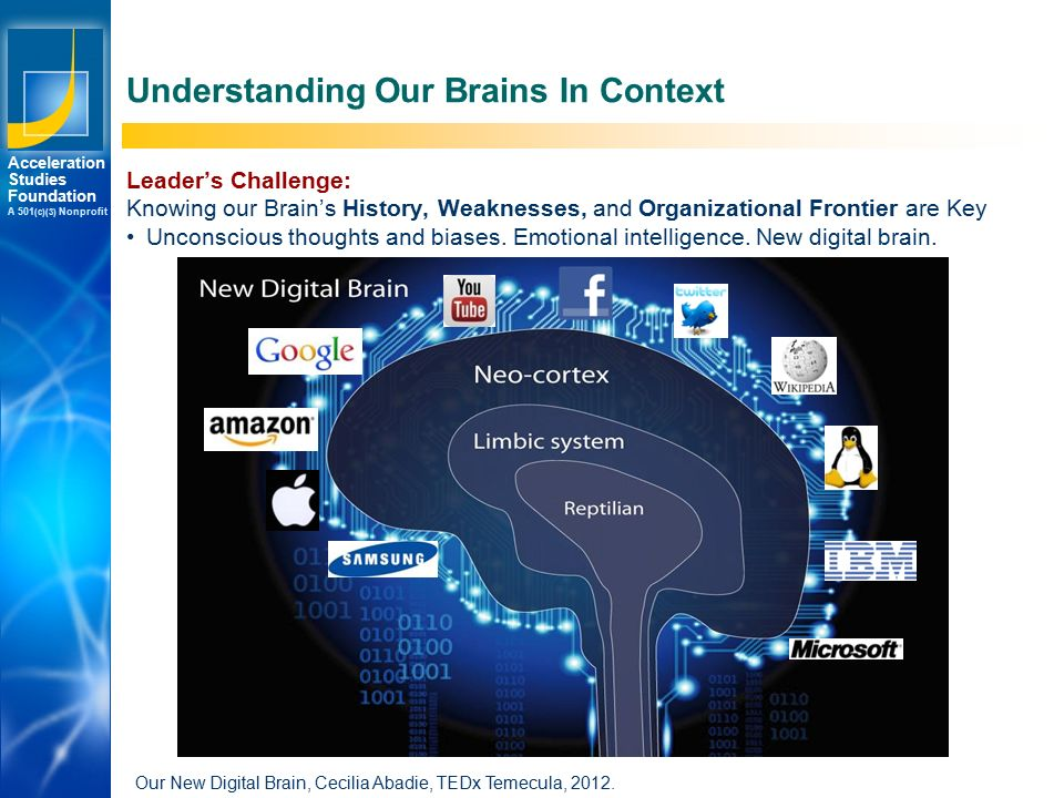Los Angeles New York Palo Alto Acceleration Studies Foundation A 501 (c)(3) Nonprofit Understanding Our Brains In Context Our New Digital Brain, Cecilia Abadie, TEDx Temecula, 2012.