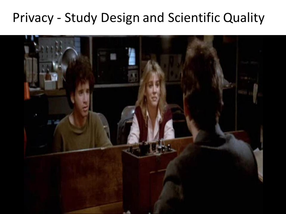 Privacy - Study Design and Scientific Quality