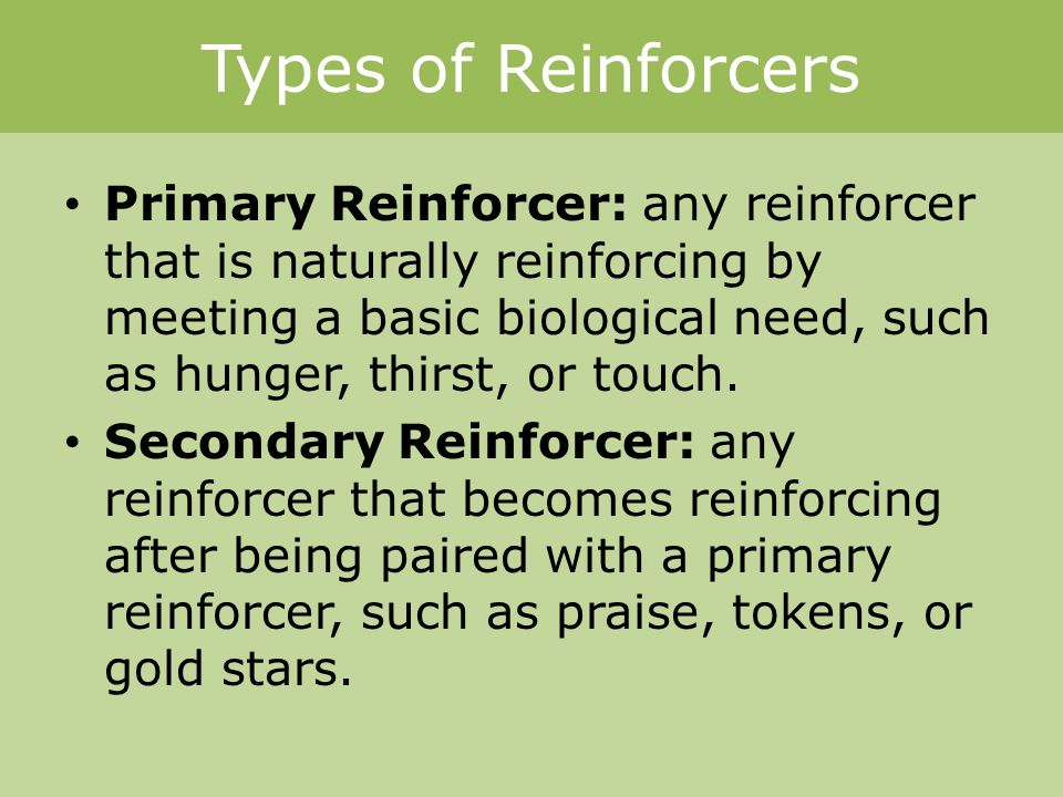 Types of Reinforcers Primary Reinforcer: any reinforcer that is naturally reinforcing by meeting a basic biological need, such as hunger, thirst, or touch.