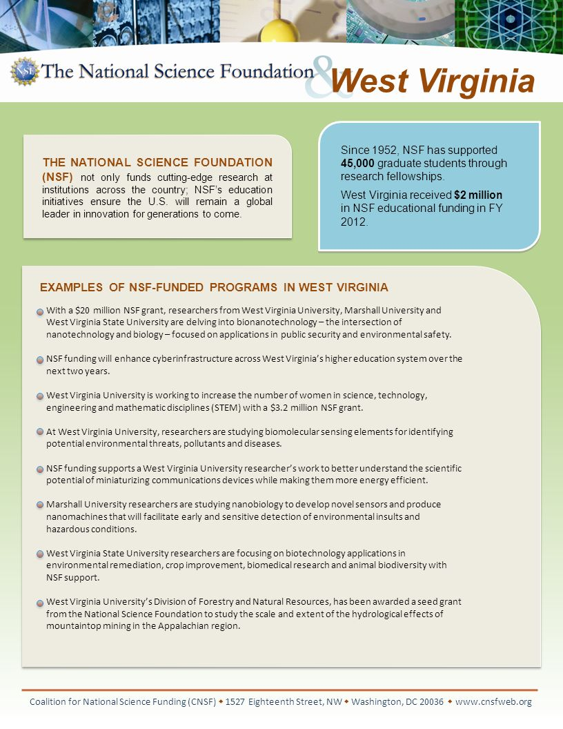 EXAMPLES OF NSF-FUNDED RESEARCH IN WEST VIRGINIA Coalition