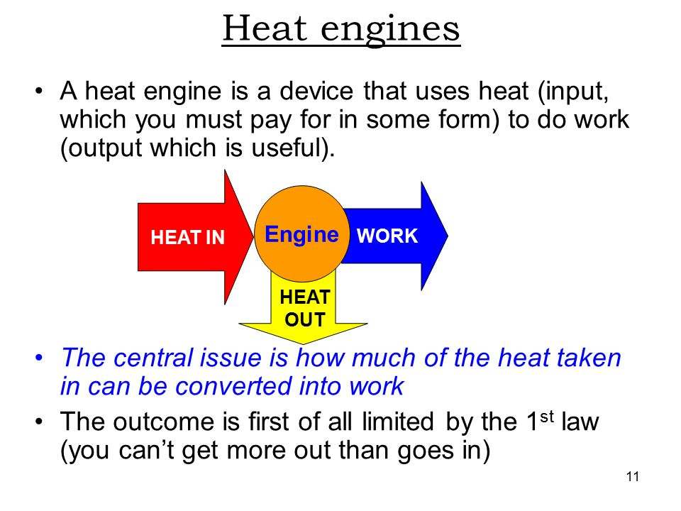 11 WORK HEAT OUT Heat engines A heat engine is a device that uses heat (input, which you must pay for in some form) to do work (output which is useful).