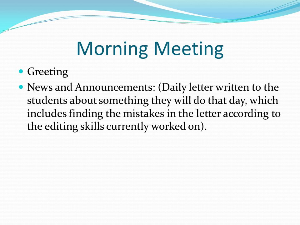 Daily schedule 830 855 do now and morning meeting 855 925 3 morning meeting greeting m4hsunfo