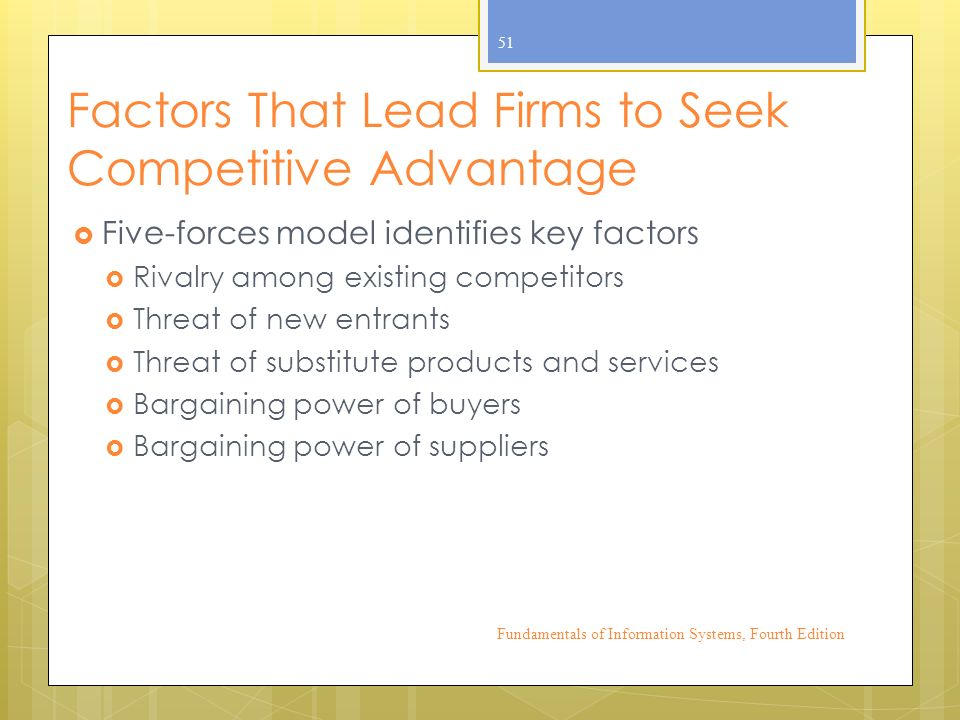 Factors That Lead Firms to Seek Competitive Advantage  Five-forces model identifies key factors  Rivalry among existing competitors  Threat of new entrants  Threat of substitute products and services  Bargaining power of buyers  Bargaining power of suppliers Fundamentals of Information Systems, Fourth Edition 51