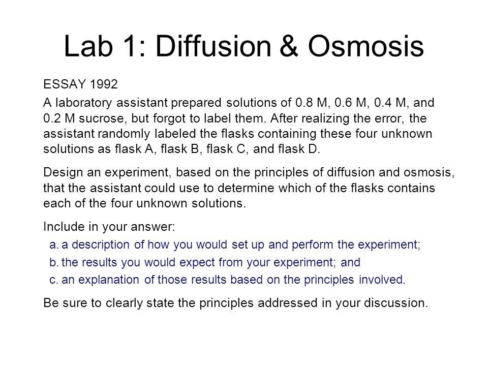 ap biology osmosis diffusion essay