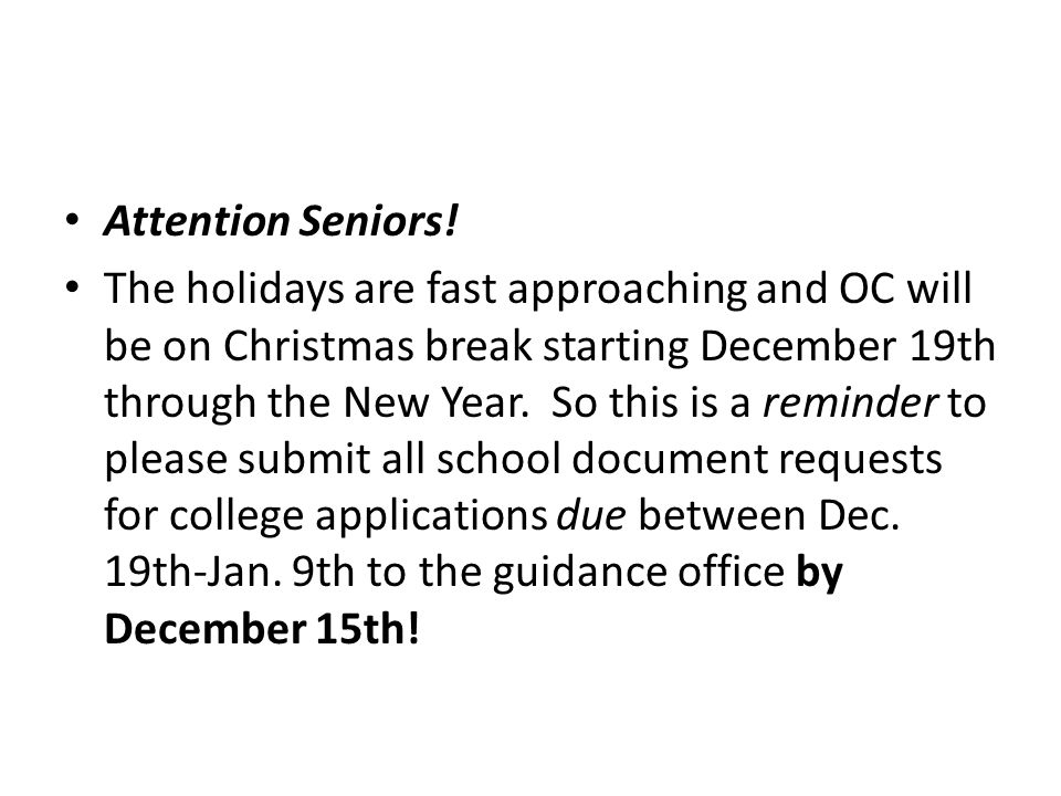 Attention Seniors.
