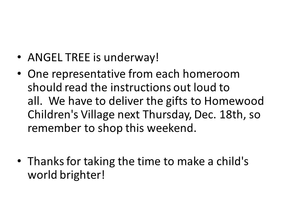ANGEL TREE is underway.