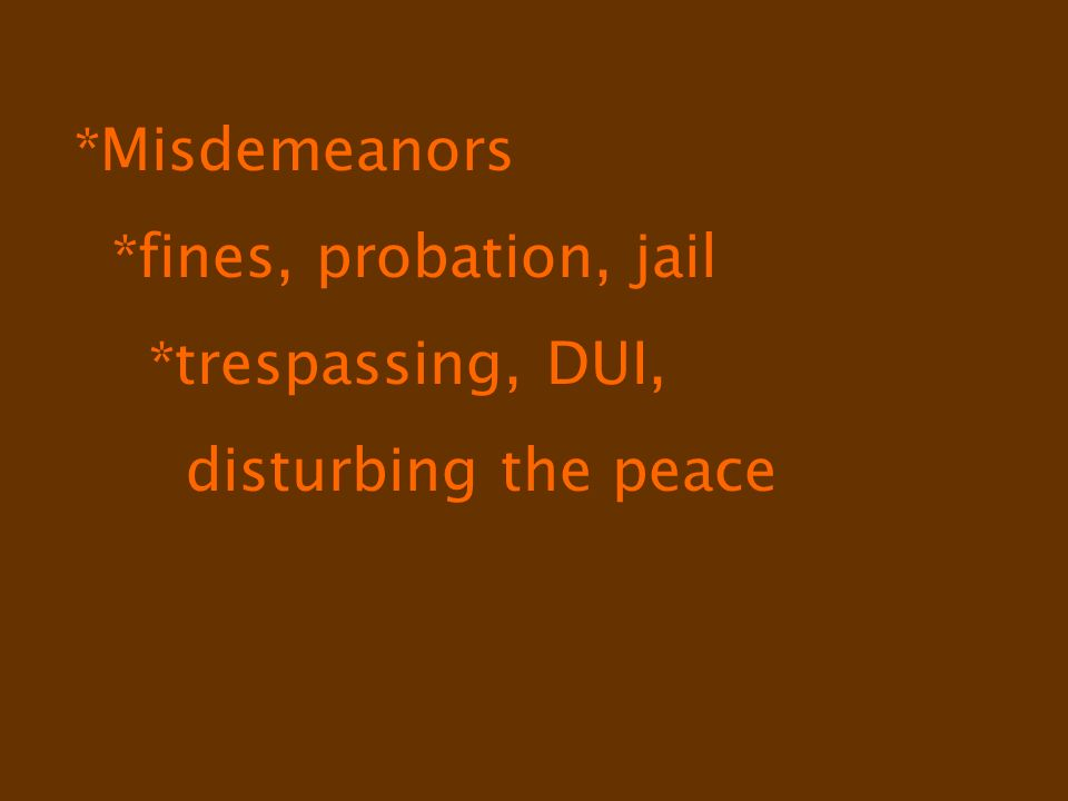 *Misdemeanors *fines, probation, jail *trespassing, DUI, disturbing the peace