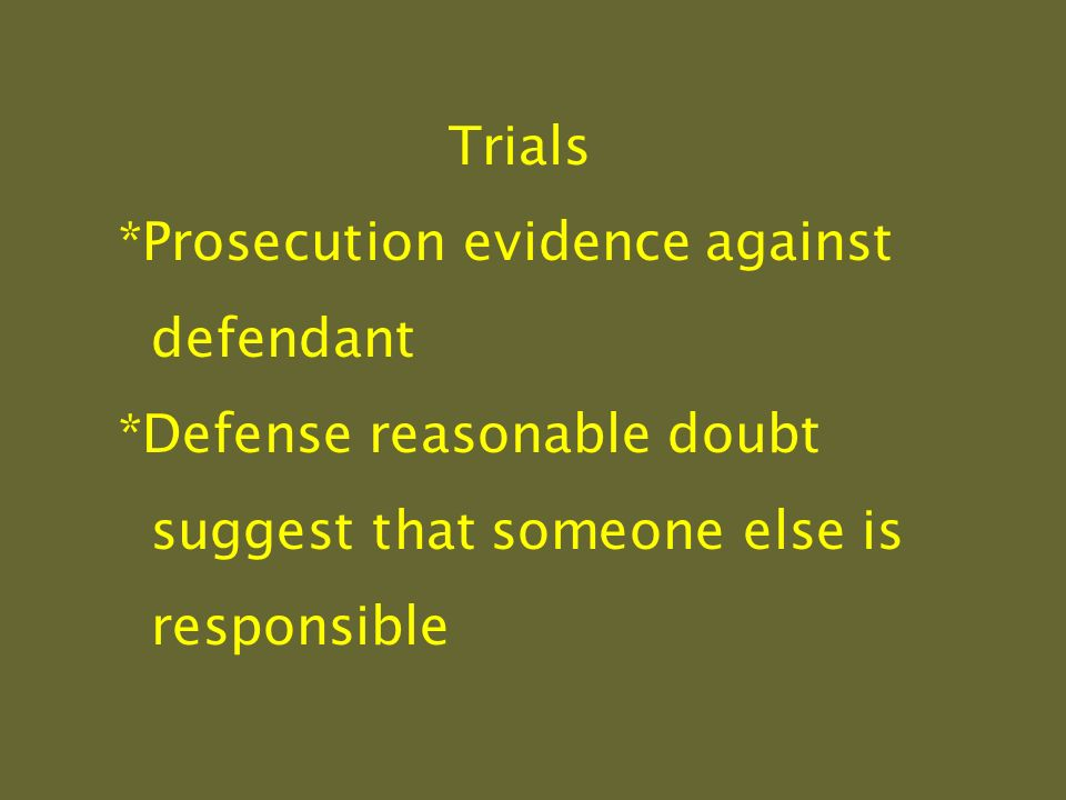 Trials *Prosecution evidence against defendant *Defense reasonable doubt suggest that someone else is responsible