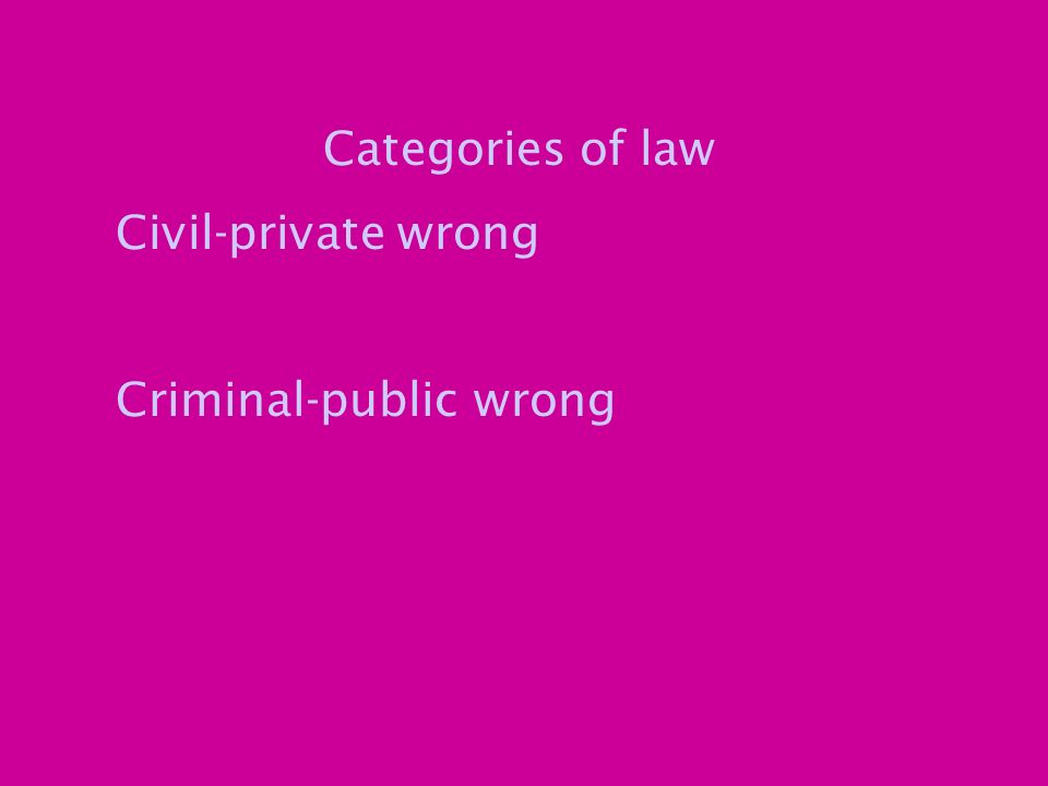 Categories of law Civil-private wrong Criminal-public wrong