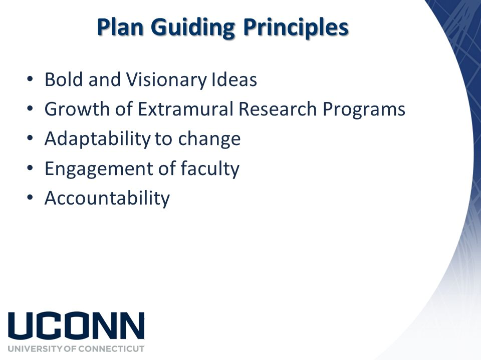 Plan Guiding Principles Bold and Visionary Ideas Growth of Extramural Research Programs Adaptability to change Engagement of faculty Accountability