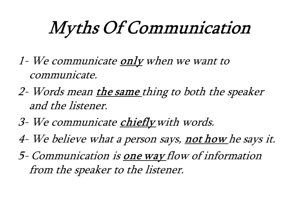 Myths Of Communication 1- We communicate only when we want to communicate.