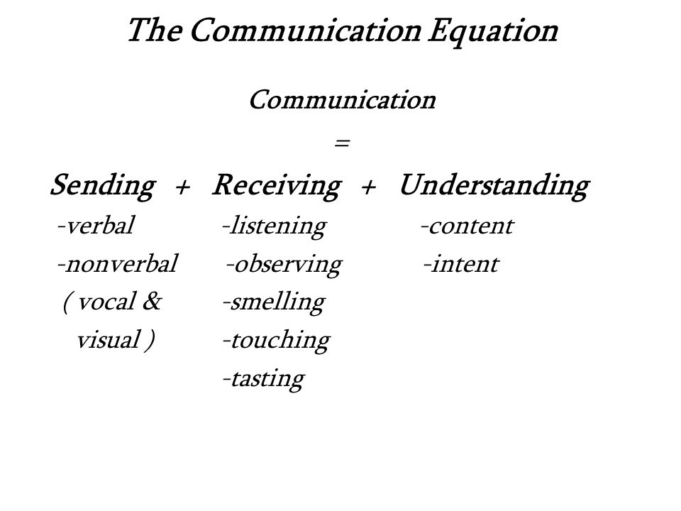 The Communication Equation Communication = Sending + Receiving + Understanding -verbal -listening -content -nonverbal -observing -intent ( vocal & -smelling visual ) -touching -tasting