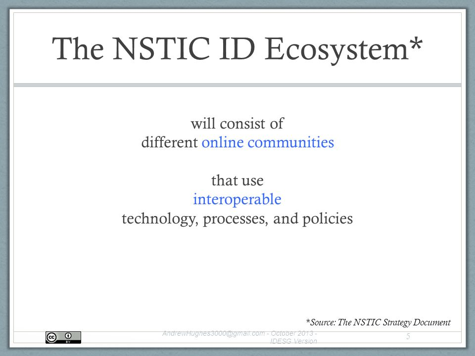 The NSTIC ID Ecosystem* will consist of different online communities that use interoperable technology, processes, and policies - October IDESG Version 5 *Source: The NSTIC Strategy Document