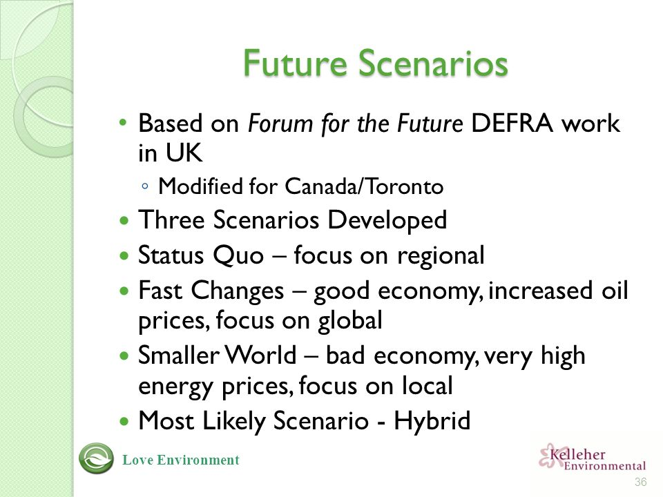 Future Scenarios Based on Forum for the Future DEFRA work in UK ◦ Modified for Canada/Toronto Three Scenarios Developed Status Quo – focus on regional Fast Changes – good economy, increased oil prices, focus on global Smaller World – bad economy, very high energy prices, focus on local Most Likely Scenario - Hybrid 36 Love Environment