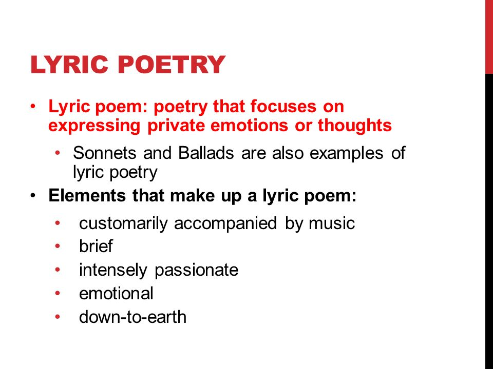 what is a lyric poem example