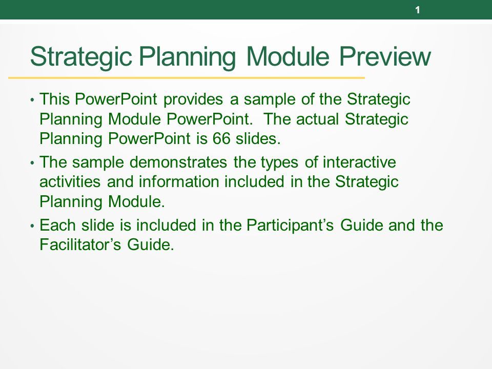 strategic planning module preview this powerpoint provides a sample