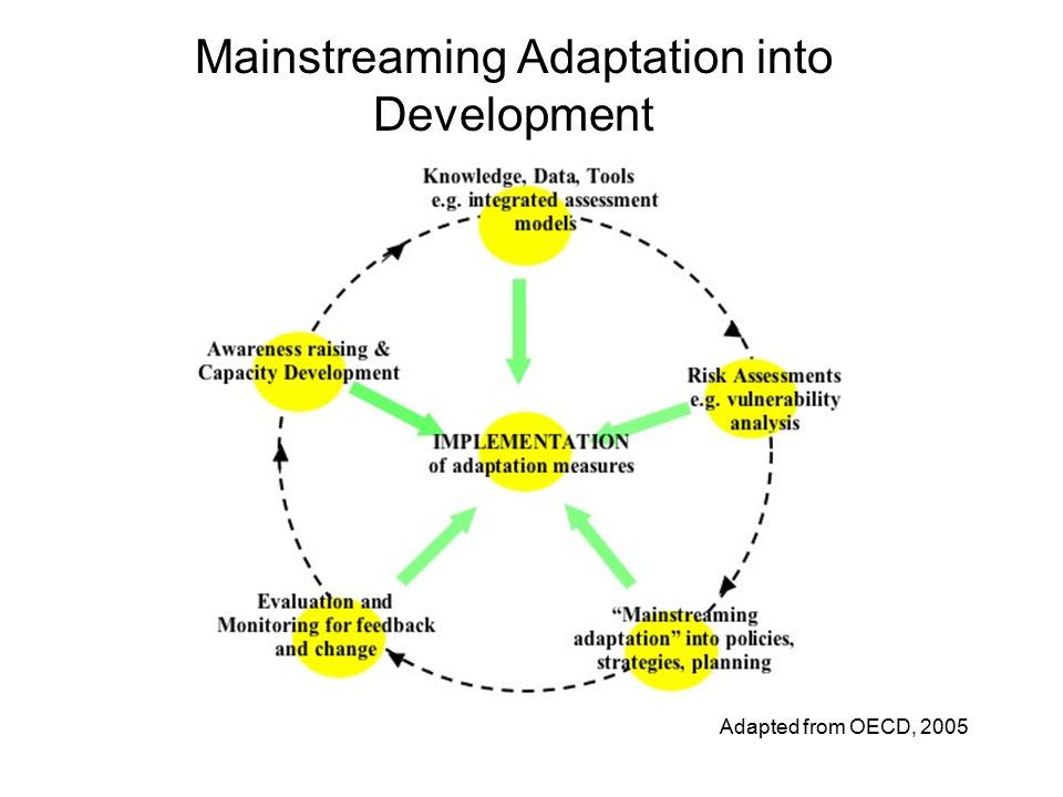 Mainstreaming Adaptation into Development Adapted from OECD, 2005